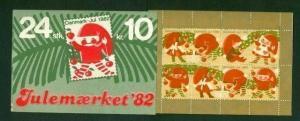 Denmark. Booklet  1982  Christmas 24 Seals  MNH. Santa. Boy