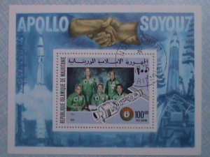 1975 MAURITANIE- APOLLO & SOYOU7 SPACE HEROES S/S