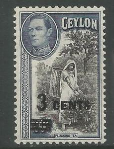 CEYLON  290 MINT HINGED,  283 SURCHARGE IN BLACK, PLUCKING TEA