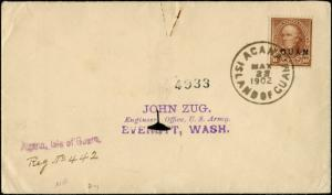GUAM #8 ON COVER GOING TO EVERETT, WA MAY 22,1902 CV $275.00 BP9980