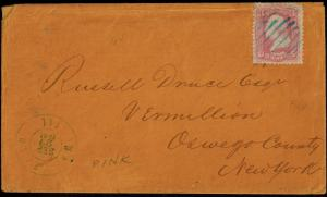 #64 ON COVER BLUE GRID CANCEL WAUKEGAN, IL TO NY WITH PF CERT CV $1,000 BR1000