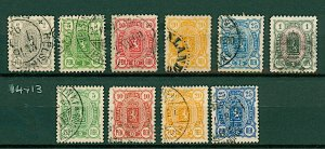 Finland 1889/91 range of Arms issues 2p to 1m with perf varieties as i FU Stamps