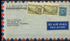 2x10c + 5c War and Peace issue Commercial to SOUTH AFRICA, 1947 Canada cover