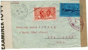 Martinique 1941 Fort de France cancel on cover to U.S., Antigua transit censor