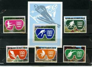 UPPER VOLTA 1976 WINTER OLYMPIC GAMES INNSBRUCK SET OF 5 STAMPS & S/S  MNH