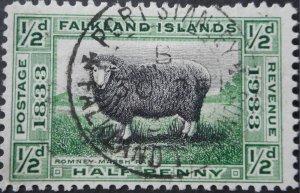 Falkland Islands 1933 GV Centenary ½d SG 127 used