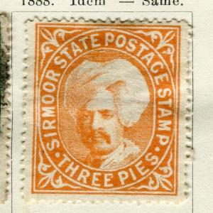 INDIA; SIRMOOR 1885-88 early classic local issue fine used 3p. value