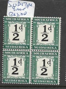 SOUTH AFRICA   (PP0606B) POSTAGE DUE 1/2D  SG D17   BL OF 4    MNH