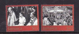 Jamaica-Sc#970-1-Unused NH set-QEII-50th Coronation-2003-