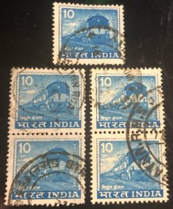 India Scott#670 Group of 5 stamps Avg to VF Used  Cat. $2.50+