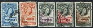 BECHUANALAND 1955 QEII CATTLE RANGE TO 10/- USED