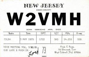 7053 Amateur Radio QSL Card  NEW JERSEY USA