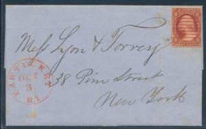 #10A POS.63L2E ON COVER PAWTUCKET, R.I. TO N.Y. OCT 3,1851 WITH PF CERT BU5223