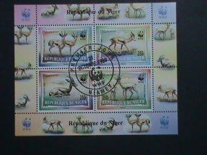 NIGER STAMP 1998 SC# 986a WORLD WILD LIFE FUND-WWF- ANIMALS CTO S/S-CAT.$8