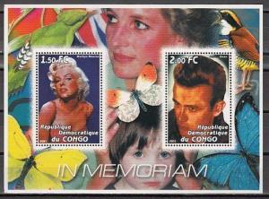 Congo, Dem. 2001 Cinderella issue. M. Monroe & J. Dean, Cinema sheet of 2.