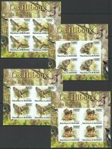 W1096 IMPERFORATE 2011 BURUNDI FAUNA BIRDS OWLS HIBOUX DU BURUNDI !!! 4KB FIX