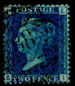 SG47, 2d dp blue PLATE 13, USED. Cat £30. EI