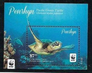 2014    PENRHYN ISLAND -  SG.  MS 649  -  PACIFIC OCEAN TURTLE  -  WWF  -  MNH