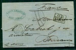 DANISH WEST INDIES 1867 Stampless St. Thomas via London to FRANCE - Brit transit