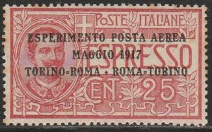 Italy C1, THE FIRST AIR MAIL STAMP, SLIGHT FOXING. MINT, NH. VF. (138)