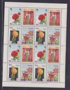 Nepal Stamps: 1969 Flowers Issue #224-227; Full Sheet of 16; MNH