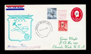 FIRST FLIGHT UPRATED SCOTT U538 ROCKY MOUNT NC TO KNOXVILLE TN 1961 SIGNED BY PM