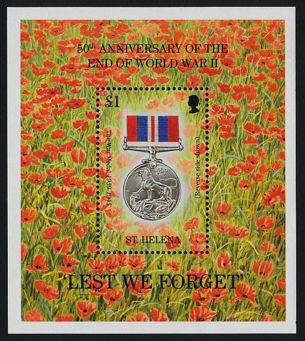 St Helena 654 MNH WWII, War Medal, Flowers