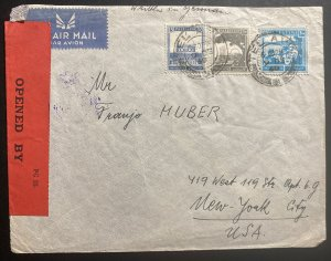 1940 Tel Aviv Palestine Airmail Censored Cover To New York USA