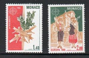 Monaco Sc 1278-79 1981 Europa stamp set mint  NH