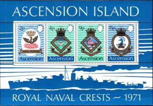 ASCENSION  Scott 155a Naval Crests souvenir sheet CV $9.50