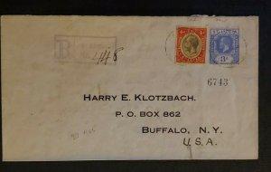 1925 Castries St Lucia Cover to Buffalo NY via New York City Registered Cover