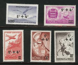 MONACO Scott CB1-5 MH* 1945 semi-postal airmail set