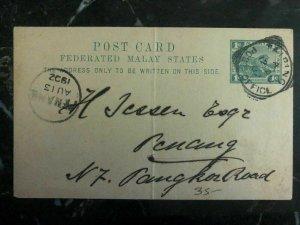 1902 Taiping Malaya Postal Stationary Cover To Penang