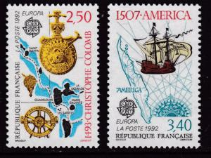 France 1989 Scott 2287-88 Discovery of America  Ships Map   VF/NH