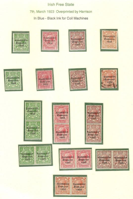 Ireland 1923 Harrison Coils SG67-70 Mint & Used Cat£260+
