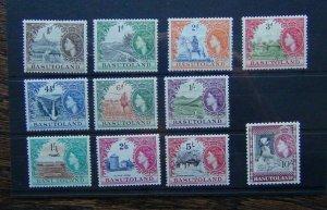 Basutoland 1954 - 1958 set to 10s LMM many MNH SG42 - SG53