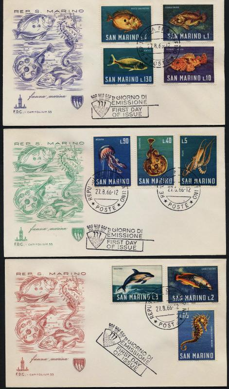 San Marino 643-52 on FDC's - Fish