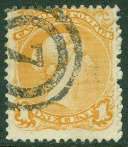 EDW1949SELL : CANADA 1869 Scott #23 Used with Numeral cancel Nice color Cat $300