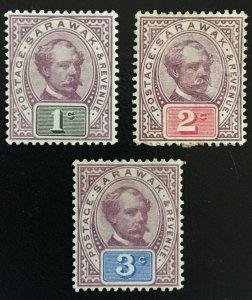 Malaya Sarawak 1888-1897 Sir Charles Brooke 3V MH SG#8-10 M1682