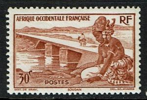 French West Africa Scott 37 Unused (1947) Fr Sudan - Bamako Dam
