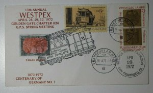 WESTPEX GPS Centenary Germany stamp 1972 combo 5m invert Cachet Cover Expo