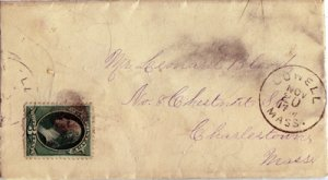 LOWELL - EARLY MAILING ENVELOPE, dated Nov 20, no year with large dial Lowell, M