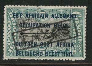 German East Africa Scott N19 on Belgian Congo Hand Stampe...