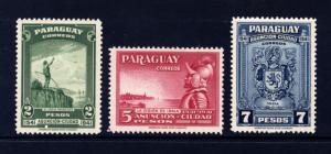 Paraguay 1942 Sc395 Sc396 Sc397 MNH OG VF