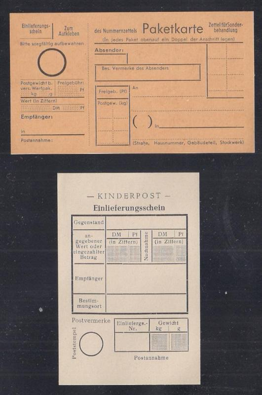 Kinderpost: 2 Toy Stamp Postal Forms Germany 1950s Scarce