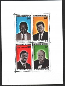 Brazzaville. 1965. bl2. Churchill, Kennedy, Presidents of the Congo. MNH.
