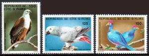 Ivory Coast 680-682, MNH. Birds: Gray Parakeet, Fish Eagle, Touracoes, 1983