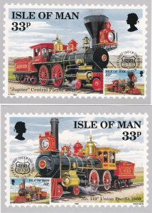 Isle of Man # 514-517, Early American Trains, Maxi Cards, First Day Cancels