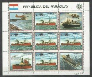 EC141 1983 PARAGUAY TRANSPORTATION AVIATION & SHIPS MICHEL 24 EURO 1KB MNH