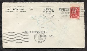 p613 - WINNIPEG 1931 Slogan Cancel on Cover to Trail BC. RETURNED